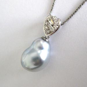 しずく型 バロックパール ダイヤモンド ペンダント 作成